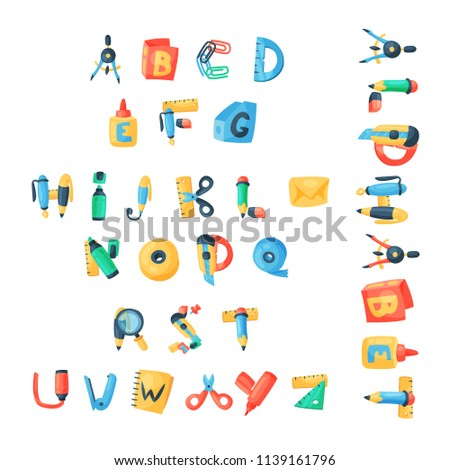 Alphabet stationery letters vector abc font alphabetic icons of office supply and school tools accessories for education pencil or pen alphabetically isolated on background illustration