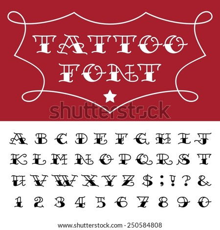 Alphabet - Tattoo Vector Font. Type letters, numbers and punctuation marks in traditional tattoo style.