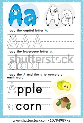 Alphabet Tracing Worksheet. Alphabet activity for pre schoolers and kindergarten A-Z.English activity for kids. A4 paper ready to print. Stock photo ©
