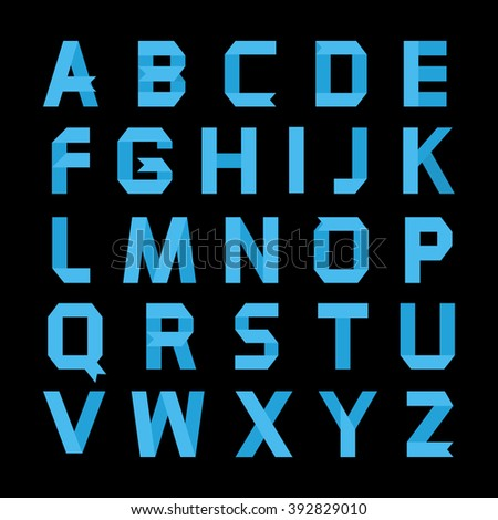Alphabet vector .Paper blue ribbon alphabet.Vector Alphabet isolated.Vector Alphabet flat style.Vector Color bright Alphabet.Vector font isolated on a black background.Vector Type
