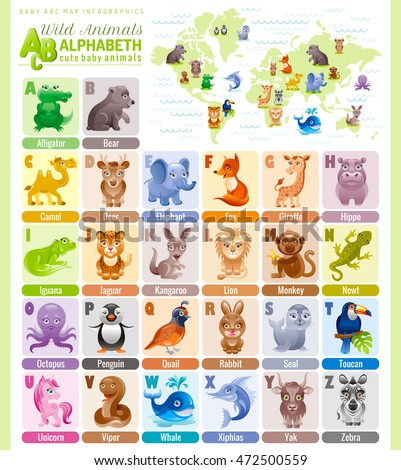alphabet wildlife infographics