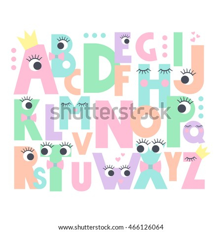alphabet with eyes and lashes