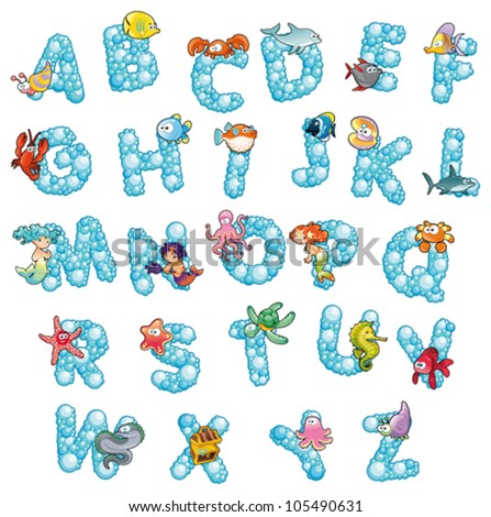 Alphabet with fish and bubbles. Funny cartoon and vector isolated letters.