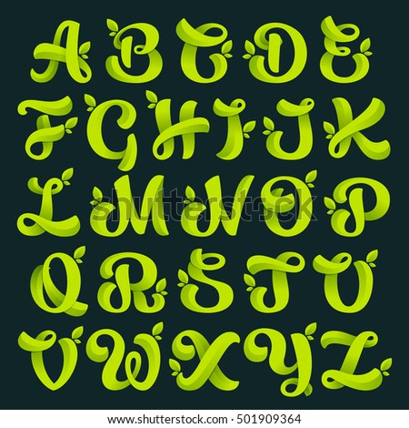 alphabet with green leaves