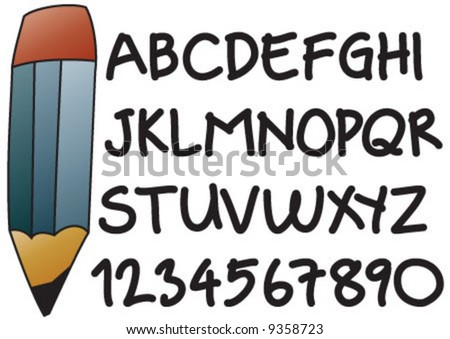 Alphabet with hand script and pencil