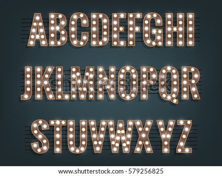Alphabet with light bulbs. Glowing vector font with shiny bright lights.