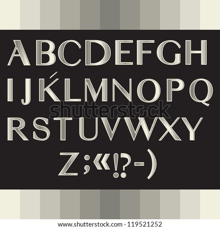 Alphabet with shiny texture Holiday font