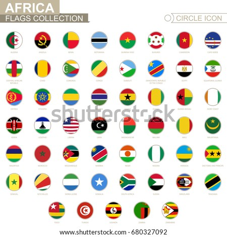 Alphabetically sorted circle flags of Africa. Set of round flags. Vector Illustration. #680327092