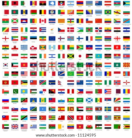 Alphabetically sorted flags of the world 3x2 with official rgb