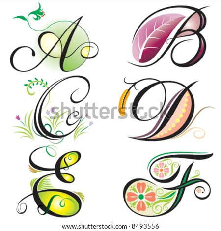 Design Letters on Alphabets Elements Design   Series A To F Stock Vector 8493556