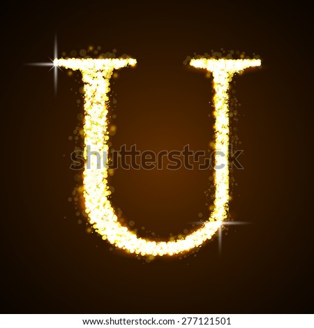 alphabets u of gold glittering