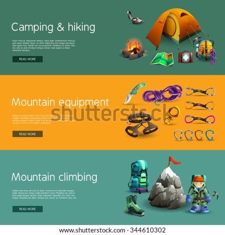 Alpine mountain climbing camping and hiking equipment interactive website 3d horizontal  banners set abstract isolated vector illustration