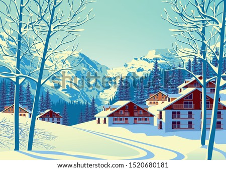 alpine village with forest and