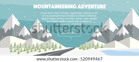 Alps, fir trees, lake, mountains wide panoramic background. Mountaineering adventure. Winter web banner design. Flat mountaineering, vector illustration.
