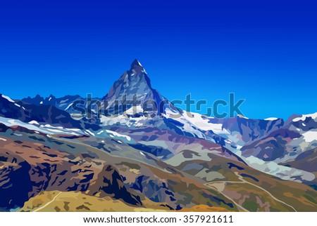 alps matterhorn mountain summer