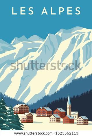 alps travel retro poster