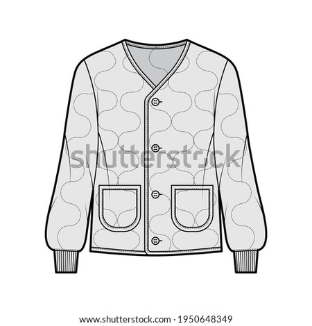 ALS 92 field jacket liner technical fashion illustration with oversized, long sleeves, oval patch pockets, Onion quilted shell. Flat coat template front, grey color style. Women men unisex CAD mockup Foto d'archivio ©