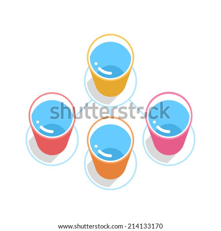 Buy and Sell Stock Vector illustration: ALS Ice Bucket Challenge concept in flat style. Color bucket with blue water on blue circle icon with long shadow on white background
