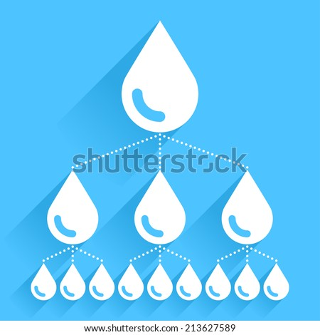 Buy and Sell Stock Vector illustration: ALS Ice Bucket Challenge concept in flat style. White water drop icon with long shadow on blue background. Vector illustration graphic design element save in 8 eps