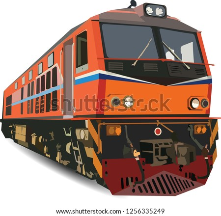 alstom Diesel Electric locomotive ,Train in thailand vector on white background