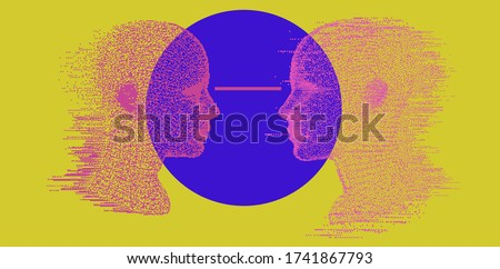 Alter ego concept, alternative self. Person and its doppelganger or twin, dissociative identity disorder.