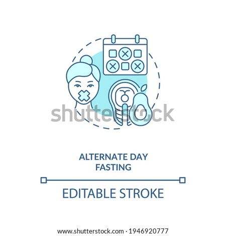 Alternate day fasting blue concept icon. Diet plan. Eating pattern. Weight loss. Intermittent fasting idea thin line illustration. Vector isolated outline RGB color drawing. Editable stroke Stock foto ©