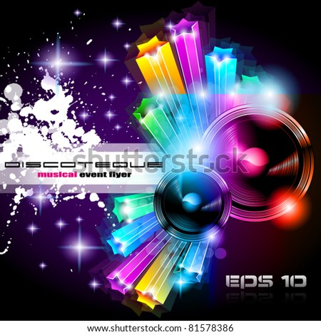 Alternative Discoteque Music Flyer with Attractive Rainbow Colours and an explosion of colurs and lights.