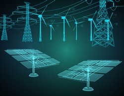 Alternative eco energy concept with glowing low polygonal Alternative eco energy concept with glowing low polygonal wind turbines farm on dark blue background. Sustainable power resources.