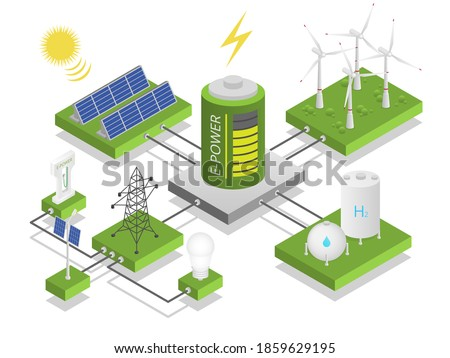 Alternative electric energy. Electricity power generation resource, ecosystem blockchain, solar panels, windmills. Replenishable resources and recyclable waste ecological vector isometric concept