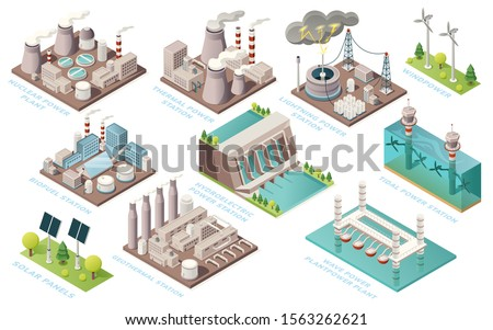 Alternative energy and power plants and green electric energy generation stations, vector isometric icons. Solar panels, bio fuel, thermal or geothermal, nuclear, tidal and water wave power stations