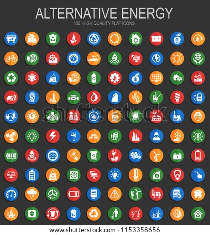 Alternative energy big collection of vector round flat icons with shadow