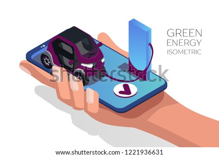 Alternative energy concept vector flat illustration. Mobile car charge station. Isometric 3d
