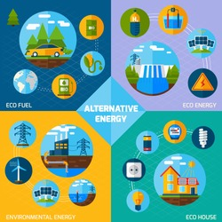 Alternative energy design concept set with eco fuel and house flat icons isolated vector illustration