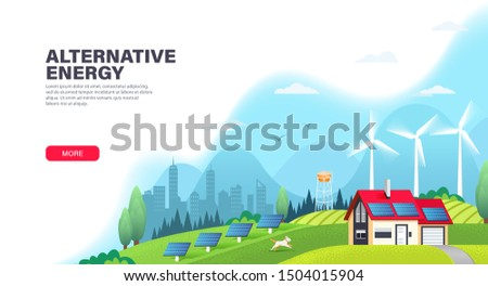 Alternative energy landing page template with solar panels and wind turbines. Ecological sustainable energy supply. Green energy and eco friendly house. Modern flat vector illustration.