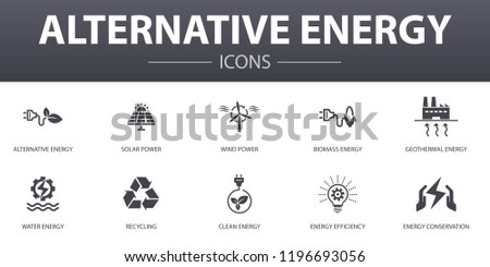 Alternative energy simple concept icons set. Contains such icons as Solar Power, Wind Power, Geothermal Energy, Recycling and more, can be used for web, logo, UI/UX