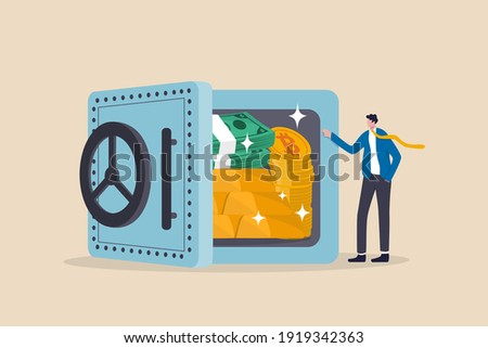 Alternative financial assets, crypto currency bitcoin, cash and gold for investment retirement plan concept, businessman investor standing with security safe with full of cash, gold and bitcoin inside