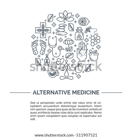 Alternative Medicine centre vector concept. Holistic center, naturopathic medicine, homeopathy, acupuncture, ayurveda, chinese medicine, womans health. For web site, print design, business card.