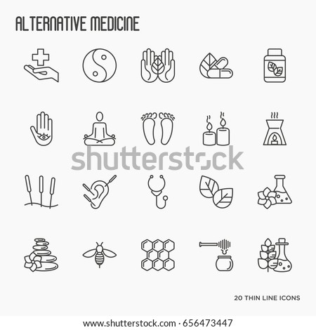 Alternative medicine thin line icon set. Elements of app or web site for yoga, acupuncture, wellness, ayurveda, chinese medicine, holistic centre. Vector illustration.