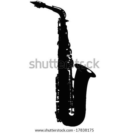 alto sax silhouette isolated vector illustration