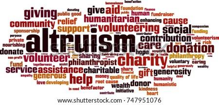 Altruism word cloud concept. Vector illustration