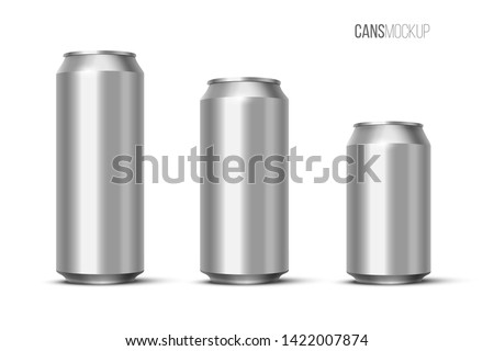 Aluminium beer, energy drink or soda pack mock up. Vector realistic blank metallic cans isolated on white background