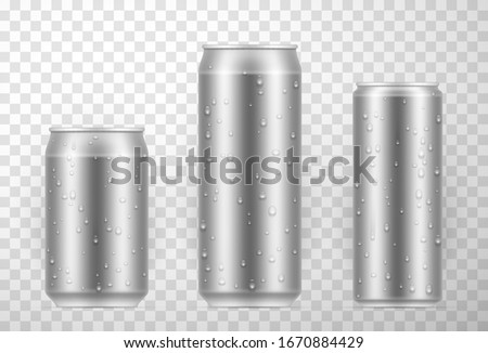 Aluminium can set with fresh water drops, single-use container for packaging, holding carbonated beverages. Bottle shiny package template. Vector can illustration