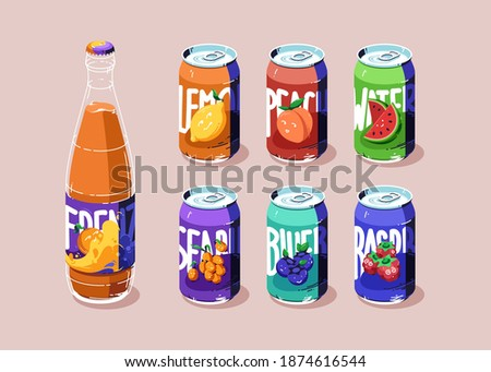 Aluminium cans with different fruit juice or lemonade. Glass bottle with fresh orange beverage. Vector flat illustration of metal tin cans with drinks from blueberry, lemon, watermelon and raspberry Stock foto ©