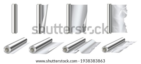 Aluminium foil rolls set. 3d detailed shiny silver thin aluminum foil roll for wrapping or decorate opened and closed view. Realistic vector illustration Stockfoto ©