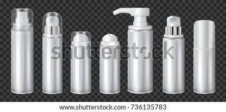 Aluminium liquid dispensers mockup aerosol deodorants and spray cans realistic set on dark transparent background vector illustration