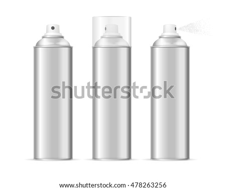 Aluminium Spray Can Template Blank Set. Different Types Vector illustration