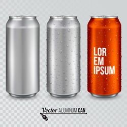 Aluminum can with water drops. Realistic metallic can for beer, soda, lemonade, juice, energy drink. Vector template for your design.