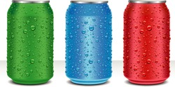 Aluminum Cans in red,green,blue with fresh water drops