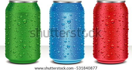 aluminum cans in red green blue