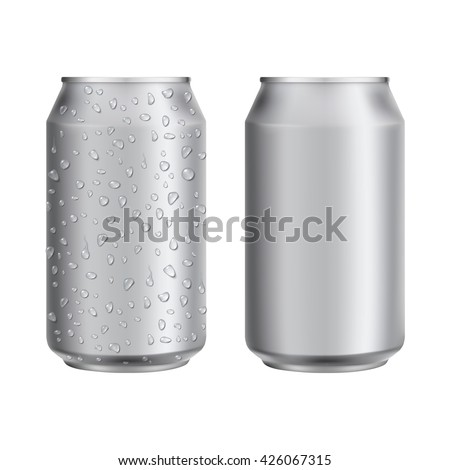 Aluminum drink can template for beer or juice design.